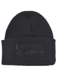 Black Makes Me Happy Embroidered Beanie Hat