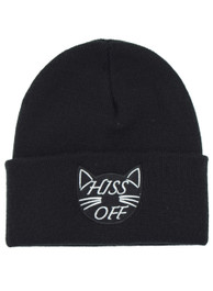 Hiss Off Embroidered Beanie Hat