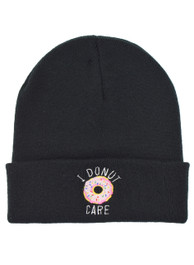 I Donut Care Embroidered Beanie Hat