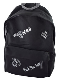 No Fucks Given Multipatch Embroidered Black Backpack