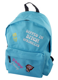 Bitch Sprinkles Multipatch Embroidered Blue Backpack