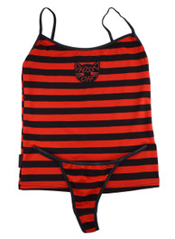 Hiss Off Black and Red Stripey Embroidered Thong Set