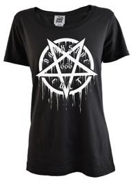 Pentagram Cult 666 Womens Scoop Neck T Shirt