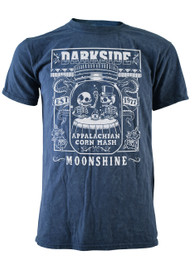 Corn Mash Moonshine Mens Blue Burn Out T Shirt