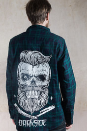 Bearded Skull Blue and Green Checked Flannel Shirt