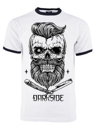 Bearded Skull Mens White Ringer T Shirt with Black Trim