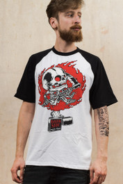 Zippo Skull Mens Raglan Baseball T Shirt