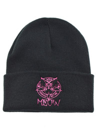 Kitten Meow 666 Embroidered Beanie Hat