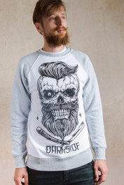 Bearded Skull Grey and White Sweatshirt