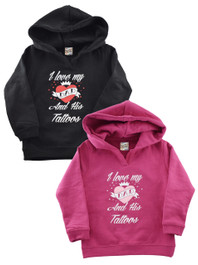 I Love My Dad And His Tattoos Pink Kids Hooded Sweatshirt