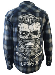 Bearded Skull Grey and Blue Checked Shirt