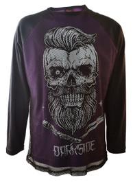 Bearded Skull Purple Mens Mesh Raglan