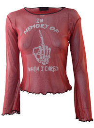 In Memory Of When I Cared Red Net Top