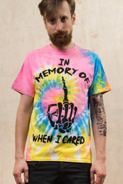 In Memory Of When I Cared Pastel Spiral Tie Dye Mens T Shirt