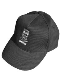 Bearded Skull Black Embroidered Snap Back Cap
