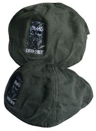 Bearded Skull Green Embroidered Wax Flat Cap