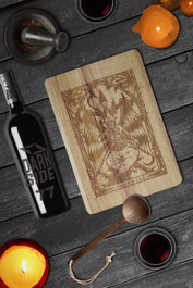 Baphomet Engraved Wooden Chopping Serving Board