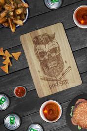 Bearded Skull Engraved Wooden Chopping Serving Board