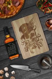 Voodoo Skull Engraved Wooden Chopping Serving Board