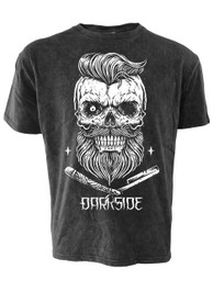 Bearded Skull Black Acid Wash T Shirt
