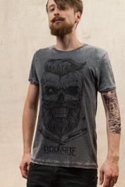 Bearded Skull Burnout T Shirt