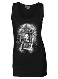 Wednesday Womens Black Cotton Vest