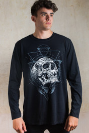 Inked Skull Mens Long Sleeve T Shirt