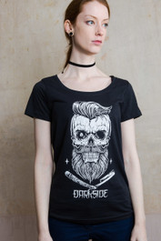 Bearded Skull Womens Scoop Neck T Shirt