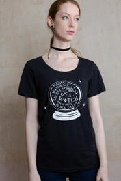 Witch Crystal Ball Womens Scoop Neck T Shirt