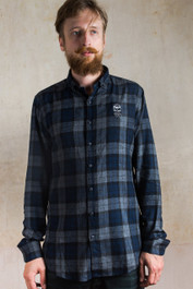 Bearded Skull Embroidered Checked Shirt Blue-Grey