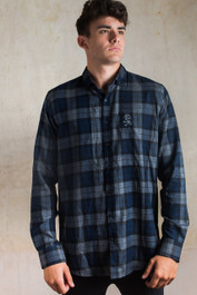 F ck You Skull Embroidered Checked Shirt Blue-Grey