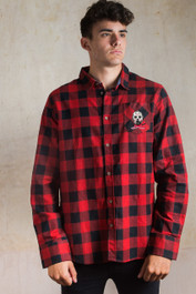 Jason Embroidered Checked Shirt Red-Black