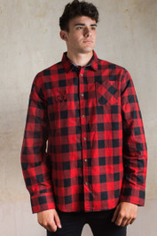 Pentagram Baphomet Embroidered Checked Shirt Red-Black