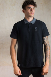 Bearded Skull Embroidered Polo Shirt Grey-Black