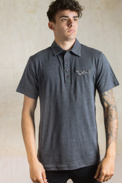 Death Moth Embroidered Polo Shirt Grey