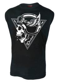 Crash Helmet Skull Mens Sleeveless Vest