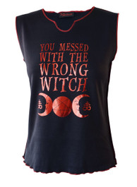 You Messed With The Wrong Witch Red Foil Womens V Neck Vest
