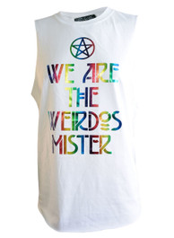We Are The Weirdos Mister Womens White Cut Off Vest Rainbow Foil Print