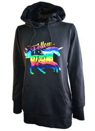 Follow Your Dreams Foil Unicorn Womens Skinny Fit Pullover Hood