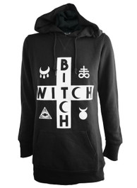 Witch Bitch Cross Womens Skinny Fit Pullover Hood