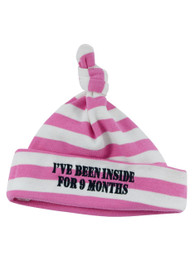 Stripey Been Inside Baby Beanie Hat Pink and White