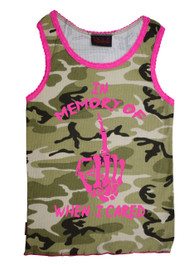 In Memory Of When I Cared Camoflage Vest With Pink Trim - One Size