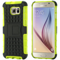 Green Reinforced Polycarbonate Hybrid Kickstand Case for Galaxy S6 Edge - 1