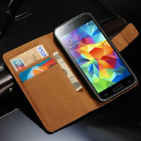 Black Samsung Galaxy S5 Mini Genuine Leather Wallet Case Cover - 1
