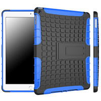 Blue Shock Proof Apple iPad Air 2 Defender Case with Built-In Kickstand - 1