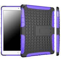 Purple Heavy Duty Hybrid Kickstand Case For Apple iPad Air 2 Cover - 1