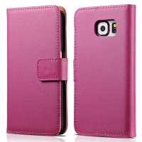 Hot Pink Real Leather Stand Wallet For Samsung Galaxy Note 5 Case - 1