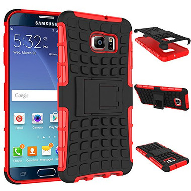 Red Samsung Galaxy Note 5 Rugged Defender Kickstand Case Cover - 1