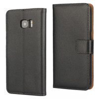 Samsung Galaxy S7 Genuine Leather Wallet Case Cover - Black - 3