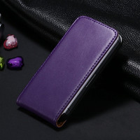 Purple Genuine Leather Flip Case For Apple iPhone 4 / 4S - 1